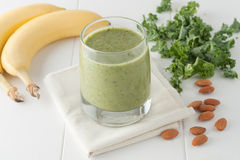 Green smoothie, ingredients include bananas, fresh Royalty Free Stock Image