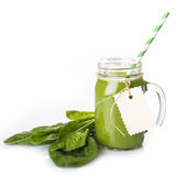 Green smoothie isolated on a white background Royalty Free Stock Photography