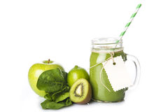Green smoothie isolated on a white background Royalty Free Stock Image
