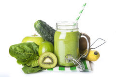 Green smoothie isolated on a white background Stock Photos