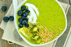 Green smoothie from kale and banana Royalty Free Stock Photos
