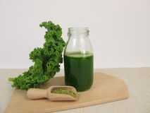 Green smoothie with kale and matcha Royalty Free Stock Image