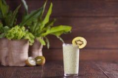 Green smoothie with kiwi Stock Photo