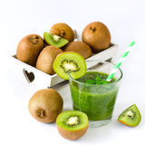Green smoothie with kiwi white copy space background square imag Stock Photo