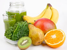 Green Smoothie With Leafs And Fruits Stock Photo