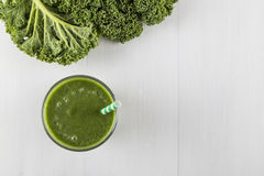 Green smoothie made with kale royalty free stock image