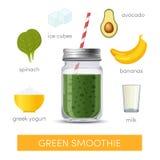 Green smoothie in mason jar. Green smoothie recipe, vector illustration vector illustration