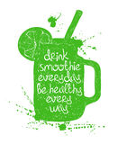 Green smoothie in mason jar silhouette. Hand drawn illustration of isolated green smoothie in mason jar silhouette on a white background. Typography poster with vector illustration