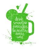 Green smoothie in mason jar silhouette. Royalty Free Stock Photos