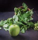 Green Smoothie preparation royalty free stock photo