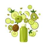 Green Smoothie Recipe. Illustration of Ingredients. Green Smoothie Recipe. With Illustration of Ingredients royalty free illustration