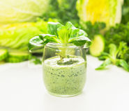 Green smoothie with salad leaves in glass jar ,healthy food Stock Images