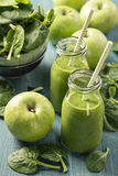 Green smoothie with spinach and apples Stock Photos