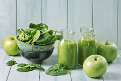 Green smoothie with spinach stock images