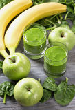 Green smoothie with spinach and banana Royalty Free Stock Images