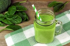 Green smoothie with spinach Royalty Free Stock Images