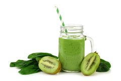 Green smoothie with spinach and kiwi isolated Royalty Free Stock Photo