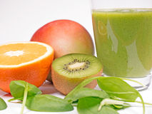 Green smoothie. With spinach, kiwi and orange Stock Photography