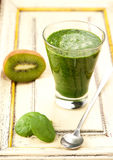 Green smoothie with spinach, kiwi Royalty Free Stock Images