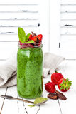 Green smoothie with superfoods. Matcha green tea chia seeds pudding stock images
