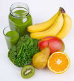 Green Smoothie With Three Greens And Fruits Stock Images