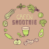 Green smoothie vector illustration. Background with vegetable frame. And a glass of juice. Doodle elements for your design vector illustration
