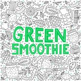 Green smoothie. Vector lettering with doodle illustrations royalty free illustration