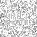 Green smoothie. Vector lettering with doodle illustrations vector illustration