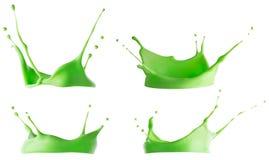 Green smoothie or yogurt splash isolated on white background. Collection, Set stock image