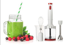 Green smoothies blender  on white background, healthy eating concept Royalty Free Stock Image