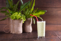 Green Smoothies. Fresh green smoothies. Morning breakfast Royalty Free Stock Photography