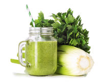 Green smoothies in a glass jar Stock Photography