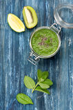 Green Smoothies of kiwi and spinach Stock Photo