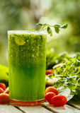 Green smoothies with vegetables  Close-up Royalty Free Stock Photos