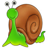 Green snail. Cartoon action icon of a green snail smiling to the reader Royalty Free Stock Photo