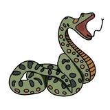 The green snake anaconda prepares to attack. Flat. Vector graphics. stock illustration