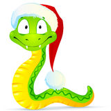 Green snake in blue Santa's hat. New year symbol - green vector snake in blue Santa's hat Stock Photos