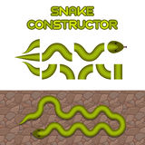 Green snake body elements. Snake shape constructor for game or web design Royalty Free Stock Photo
