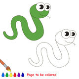 Green Snake cartoon. Page to be colored. Stock Images