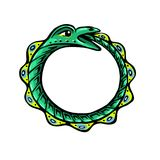 Green snake eats its own tail. Uroboros. The green snake eats its own tail. Eternity or infinity Magic symbol. Mythology and snakes, stylized vector illustration Stock Images