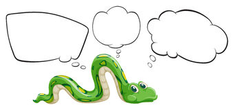 A green snake with the empty bubble notes Stock Photography