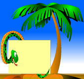 The Green snake beside palms Royalty Free Stock Photos