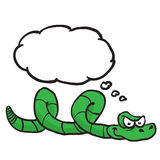 Green snake with thought bubble Stock Photo