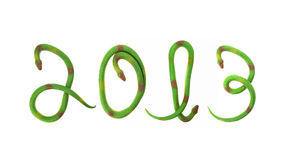 Green snakes making 2013. Caption Stock Image