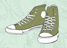 Green Sneakers Stock Photography