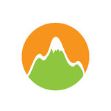 Green snow-capped mountain, vector logo Royalty Free Stock Image