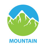 Green snow-capped mountain, vector logo Royalty Free Stock Photos