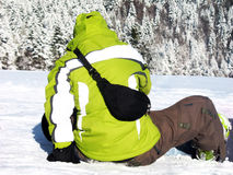 Green snowboarder Royalty Free Stock Photography