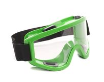 Green snowboarding glasses. Royalty Free Stock Images