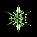 Green Snowflake Crystal. A beautifully crafted green glass crystal in the shape of a snowflake, isolated on a black background Stock Photography
